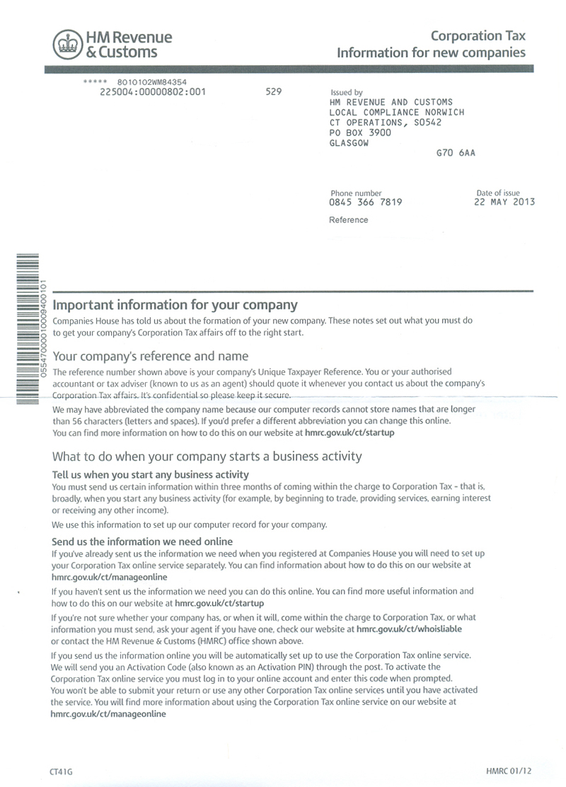 GT41G form from HMRC