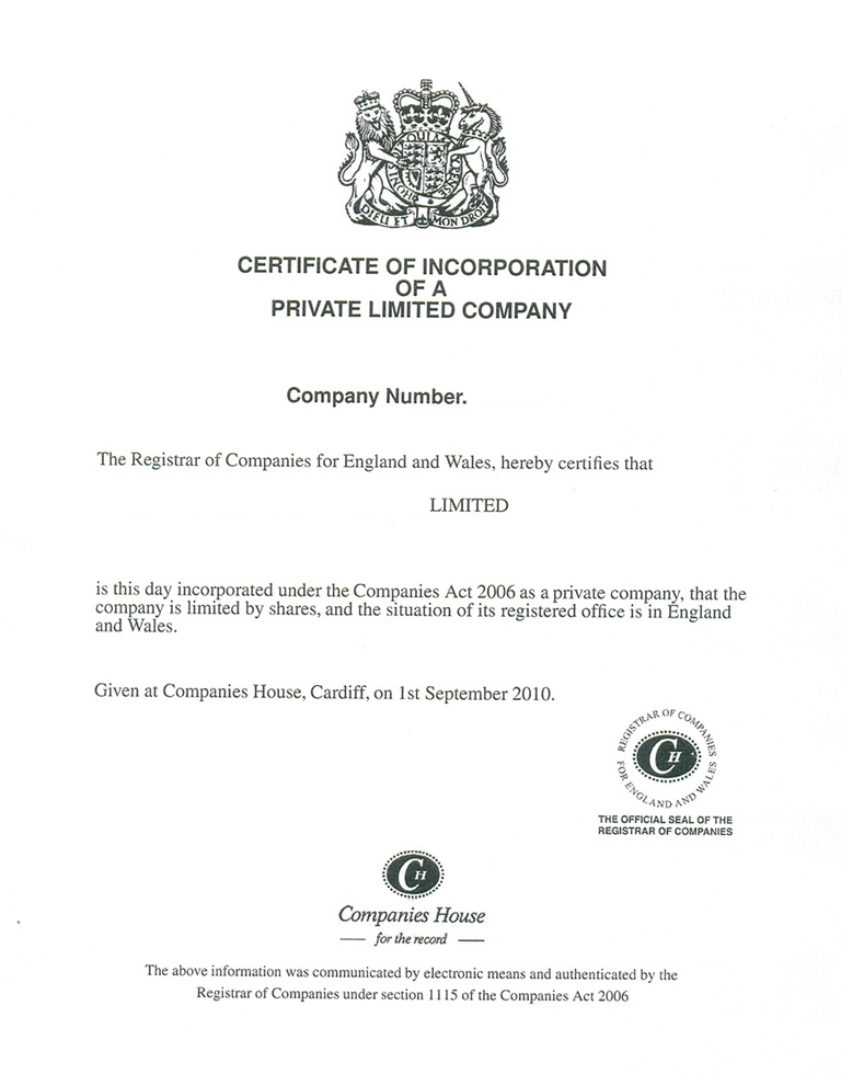 Certificate Of Incorporation For Limited Companies