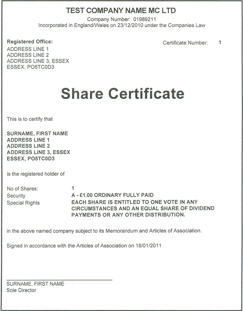 Share Certificates for Limited Companies