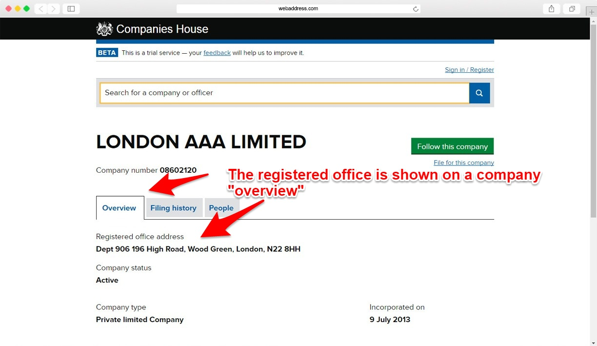 Registered office address shown on companies house record