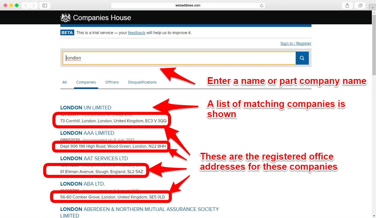 Finding a registered office address at companies house