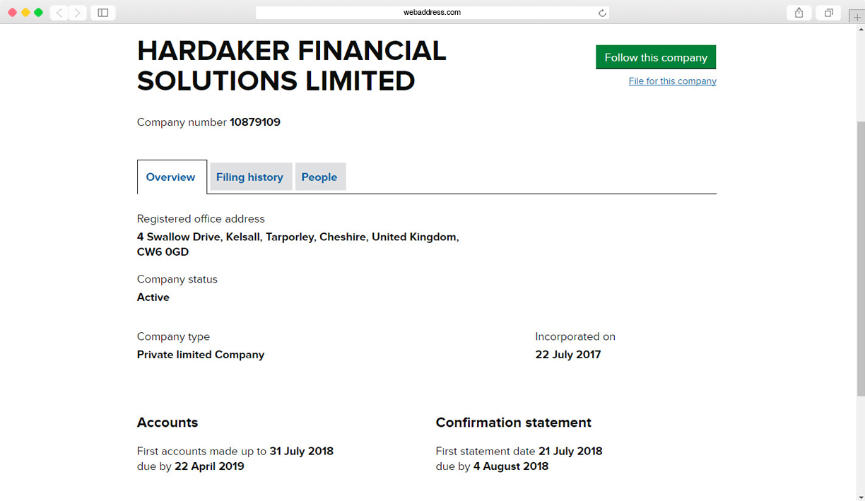An example of a UK limited company incorporation