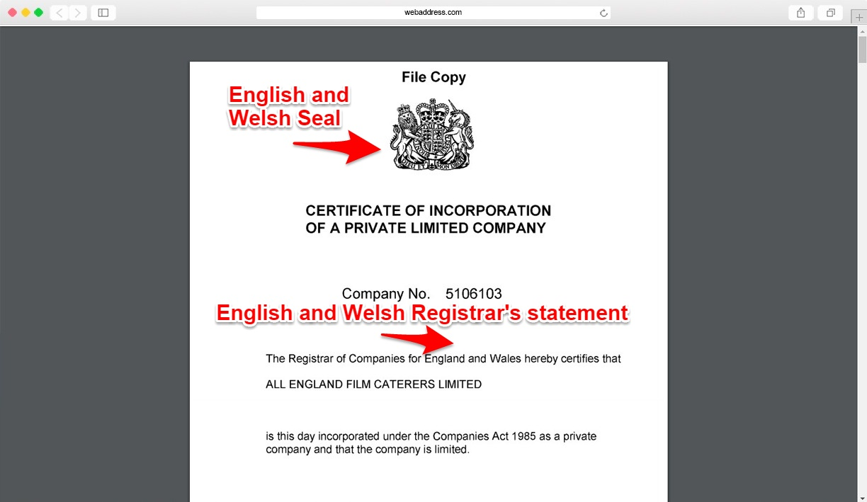 Certificate of incorporation showing registered office in England and Wales