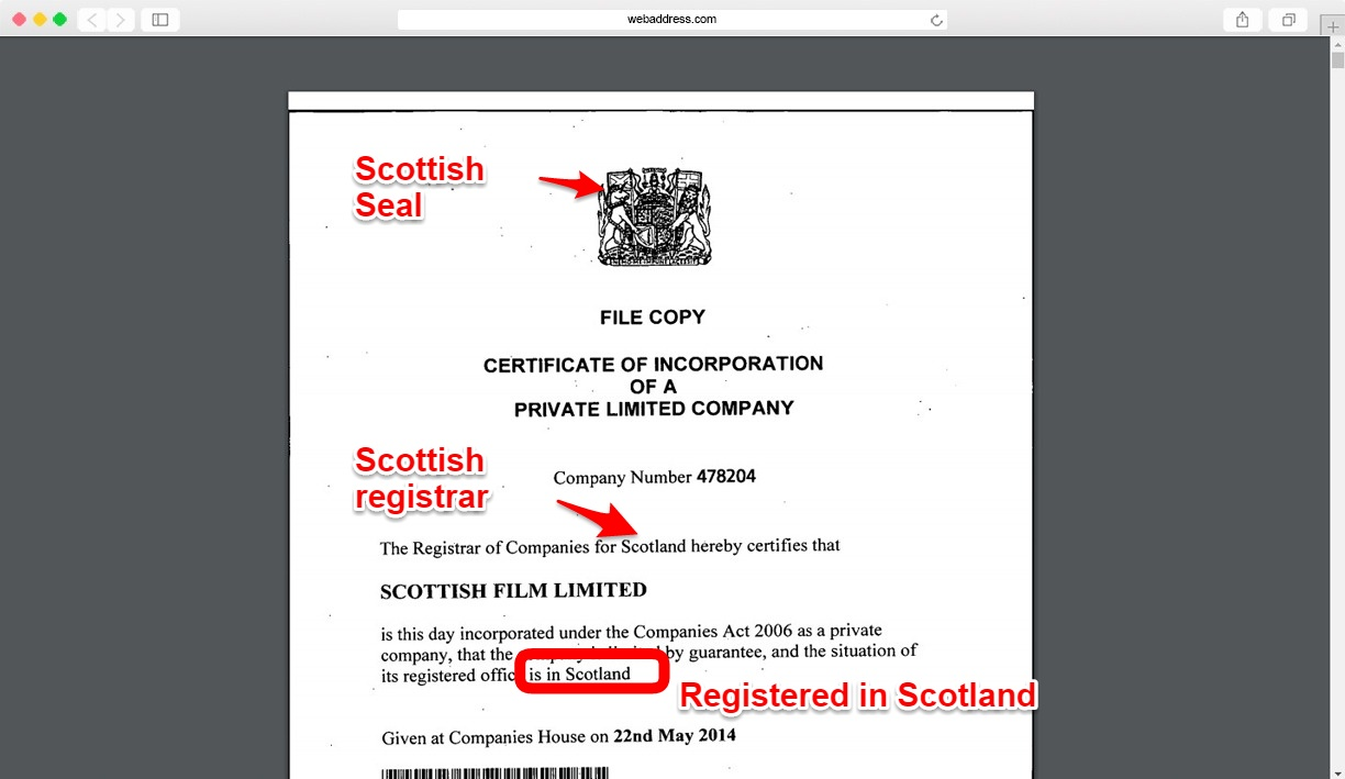 Certificate of incorporation showing scottish registered office