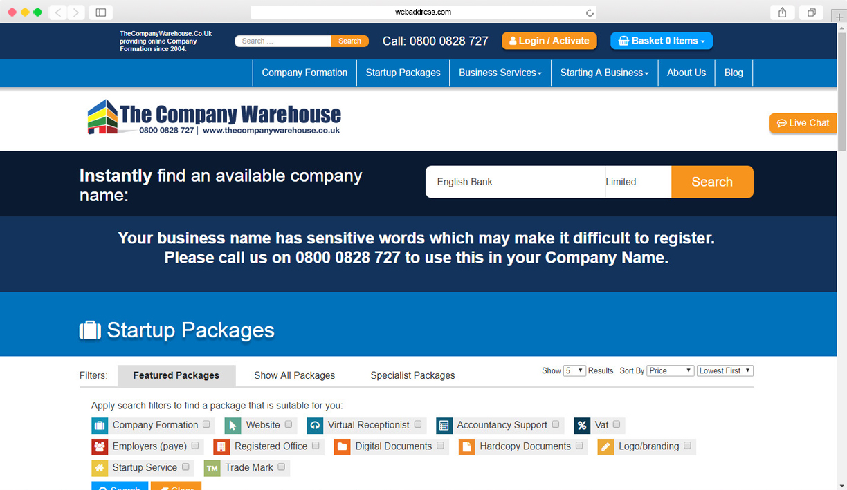 Checking a company name is available | TheCompanyWarehouse co uk