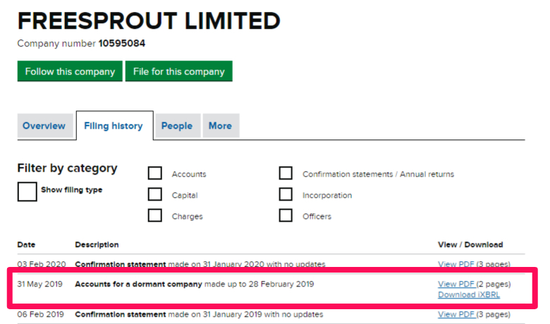 Dormant accounts entry on a Companies House company record