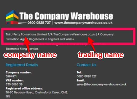 Company name and trading as name use in website footer