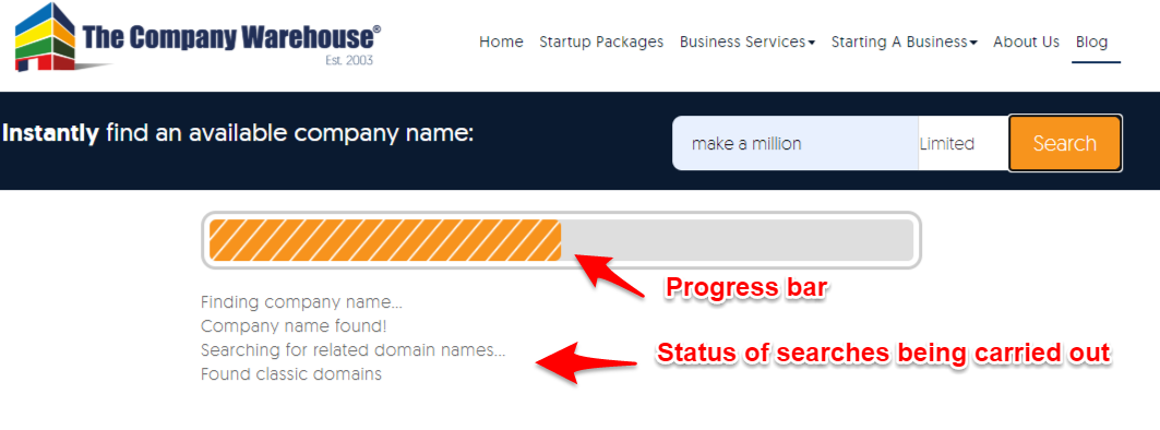 company name availability search in progress