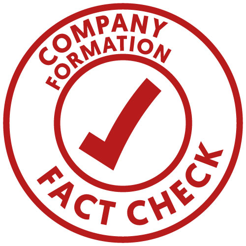 Company formation fact check logo in the form of a stamp