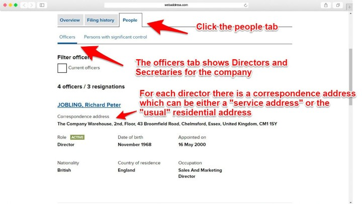 Finding directors address at companies house