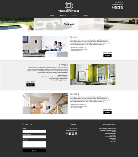 Services Website Layout 2 – Internal Page