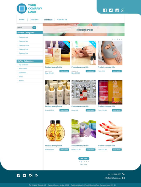 Retail Website Layout – Internal Page
