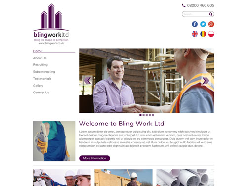 Bling Work Website Design Home Page