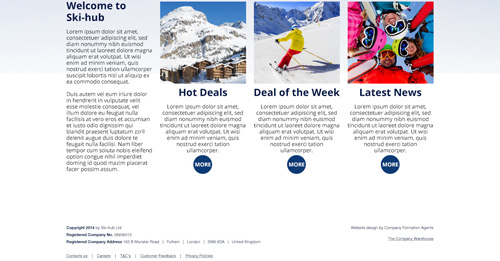 Ski-hub Website Design Home Page Bottom