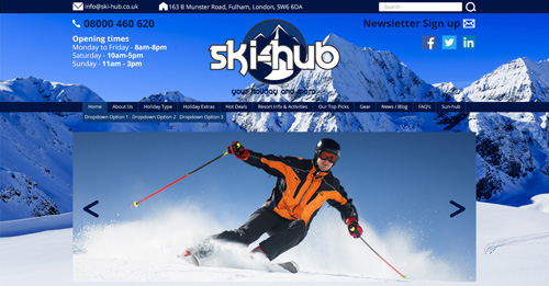 Ski-hub Website Design Home Page Top