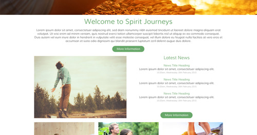 Spirit Journeys Website Design Internal Page