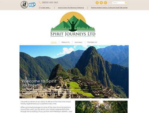 Spirit Journeys Website Design Home Page