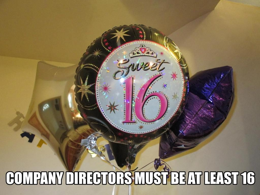 16th birthday baloon - Company directors must be 16 years old