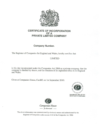 Limited Company Certificate of Incorporation