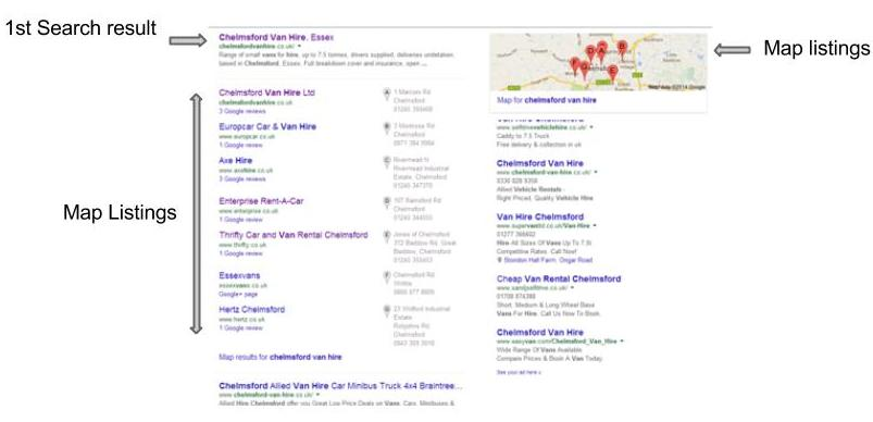 How Map Listing show in Google Search