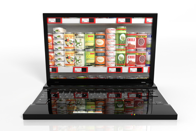 A laptop with stacks of tinned food on the screen.