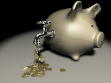 Coins flowing from a tap on a piggy bank to indicate cash flow