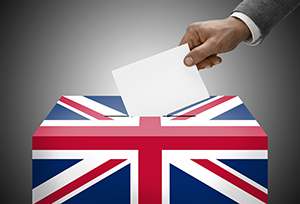 A ballot box emblazoned with the Union Jack flag.